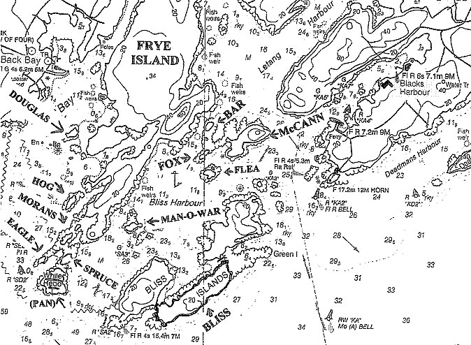 The islands around Bliss Harbour, Blacks Harbour and Back Bay